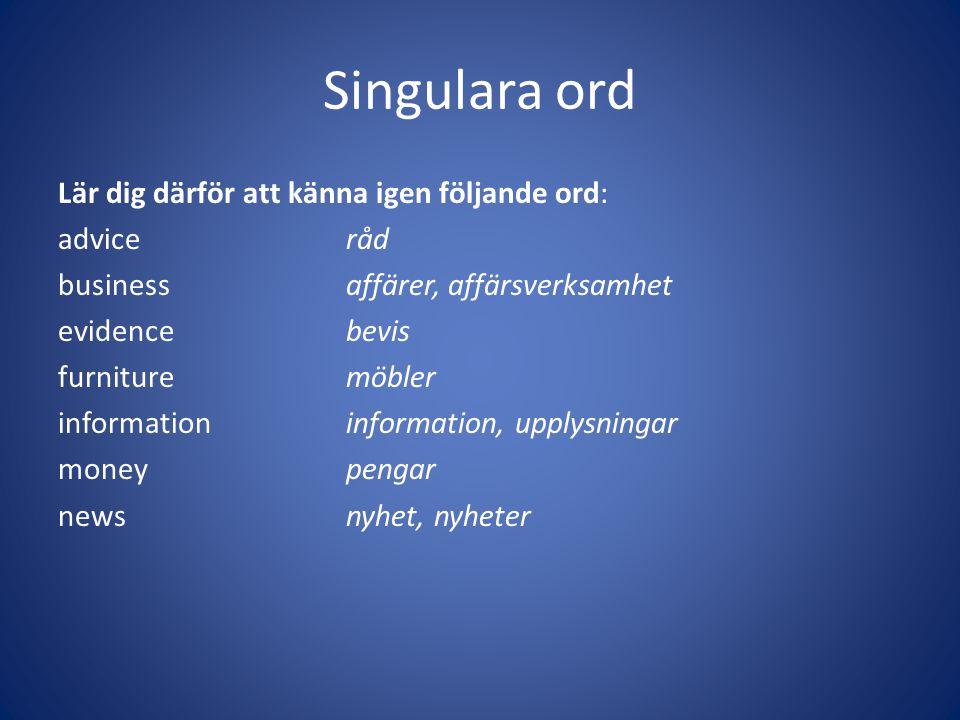 Singulara ord
