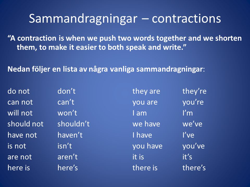 Sammandragningar – contractions