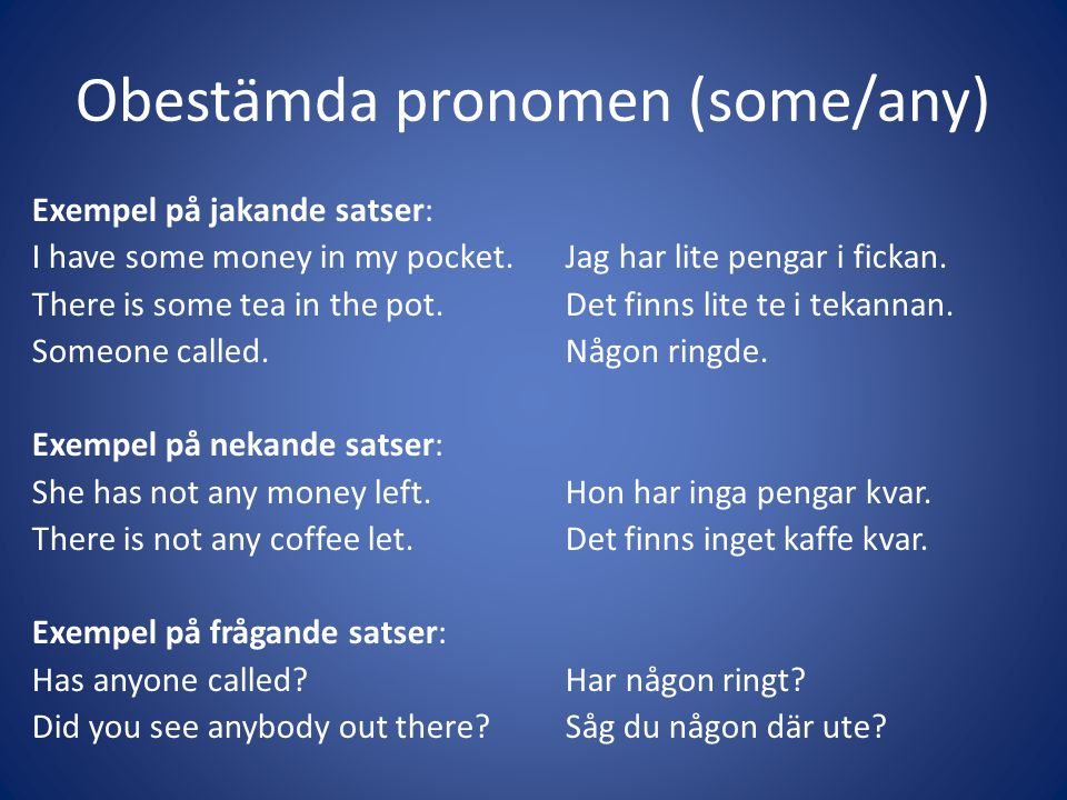 Obestämda pronomen (some/any)