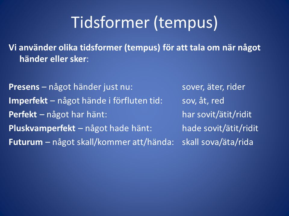 Tidsformer (tempus)