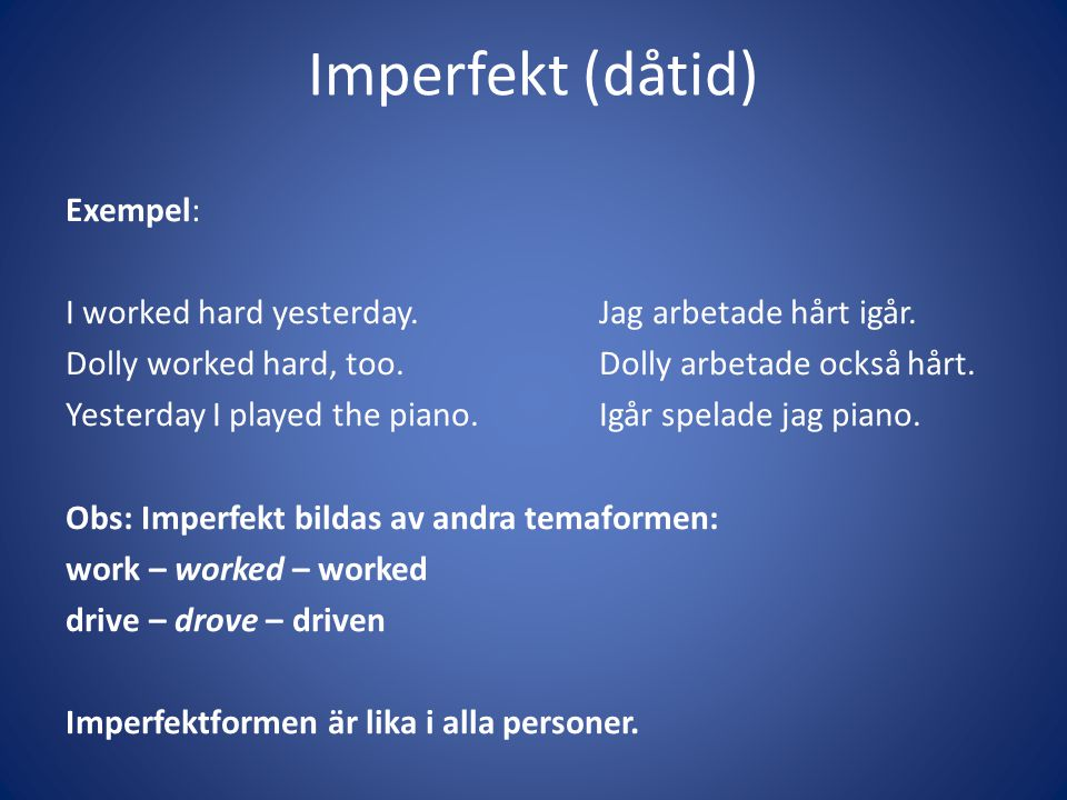 Imperfekt (dåtid)