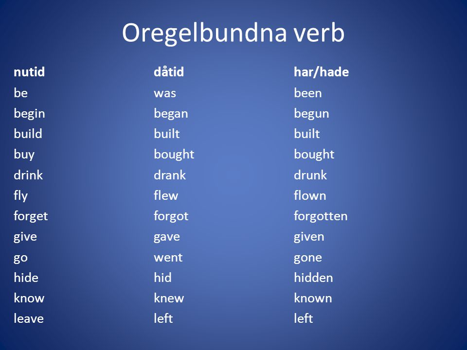Oregelbundna verb