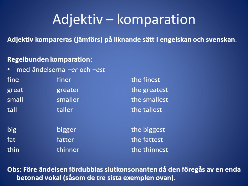 Adjektiv – komparation