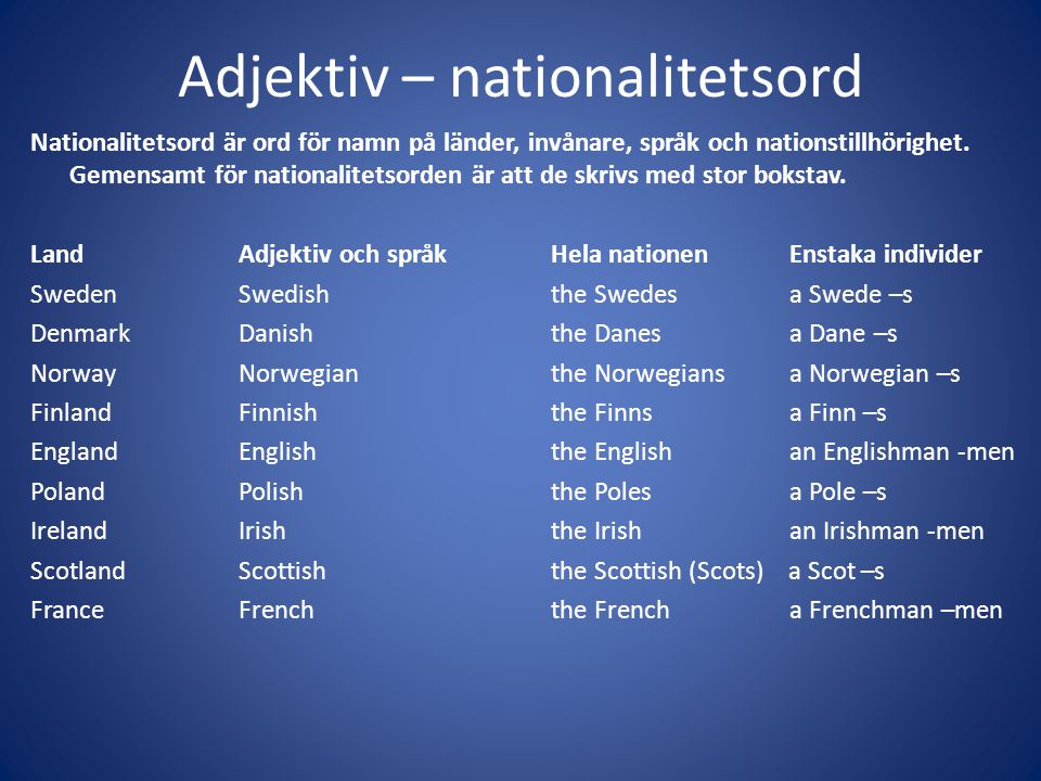 Adjektiv – nationalitetsord
