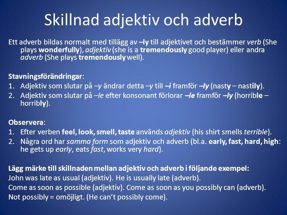 Skillnad adjektiv och adverb