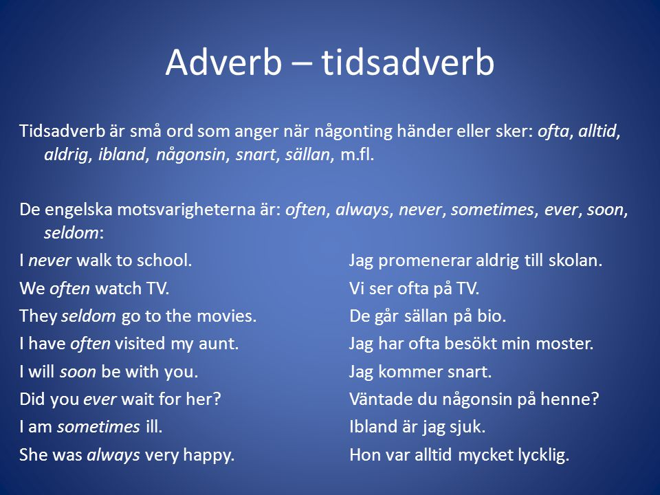 Adverb – tidsadverb