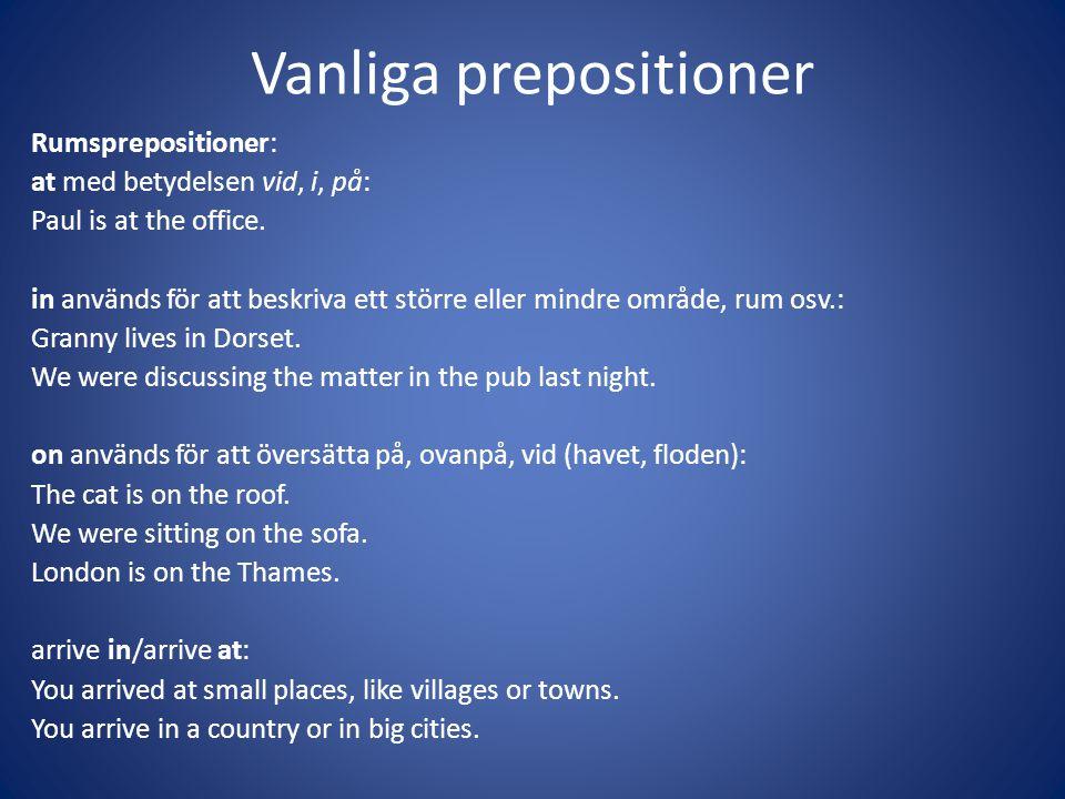 Vanliga prepositioner