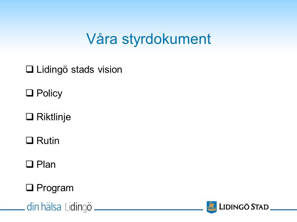 Våra styrdokument Lidingö stads vision Policy Riktlinje Rutin Plan