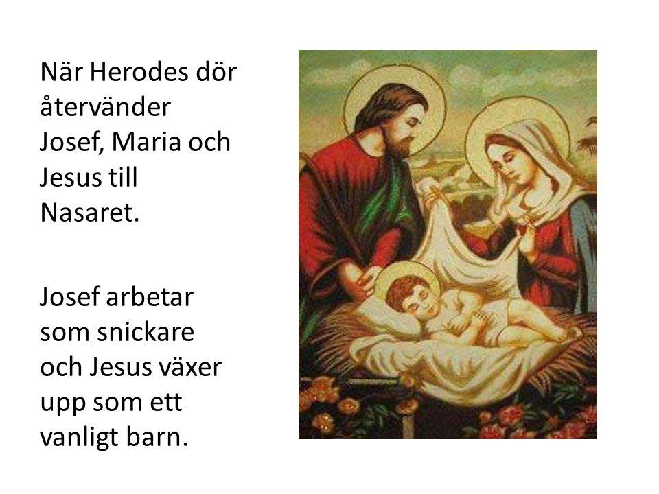 När Herodes dör återvänder Josef, Maria och Jesus till Nasaret