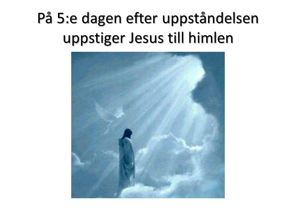 På 5:e dagen efter uppståndelsen uppstiger Jesus till himlen