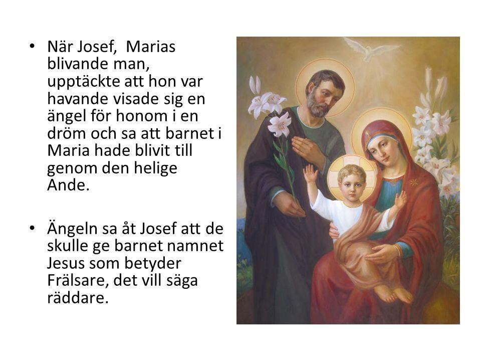 När Josef, Marias blivande man, upptäckte att hon var havande visade sig en ängel för honom i en dröm och sa att barnet i Maria hade blivit till genom den helige Ande.