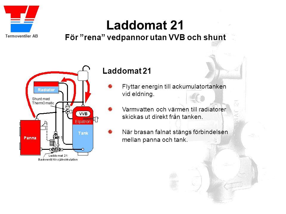 Laddomat 21 För rena vedpannor utan VVB och shunt