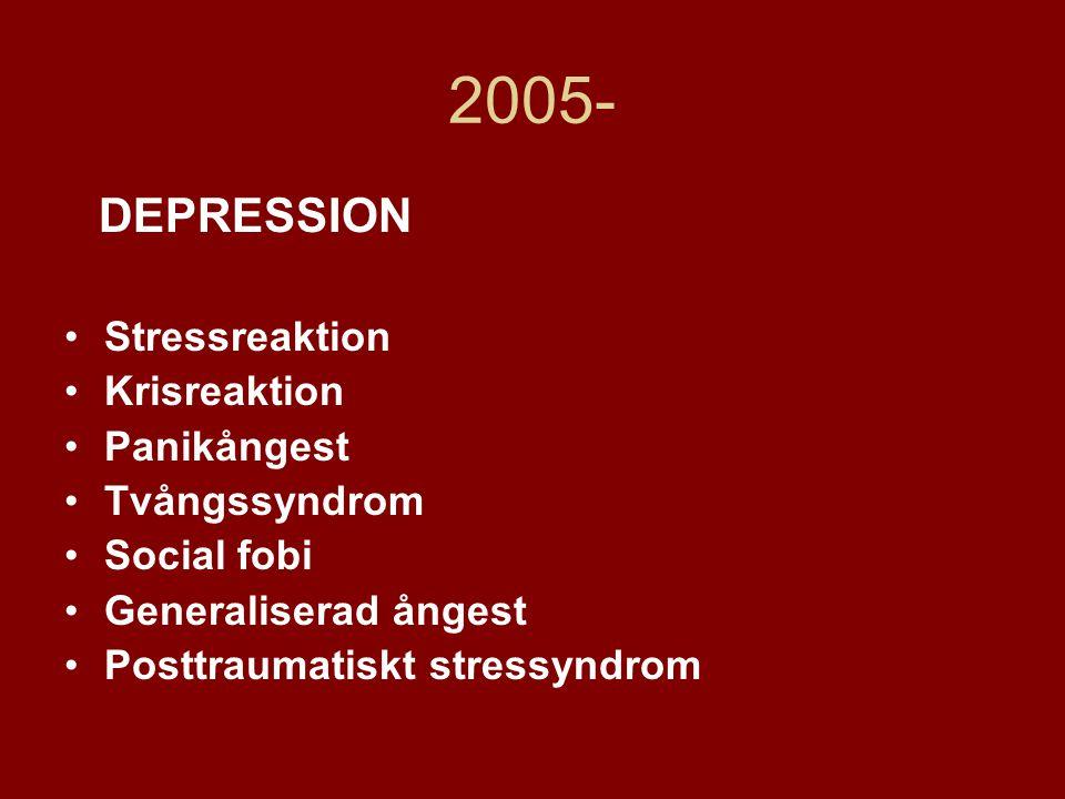 2005- DEPRESSION Stressreaktion Krisreaktion Panikångest Tvångssyndrom