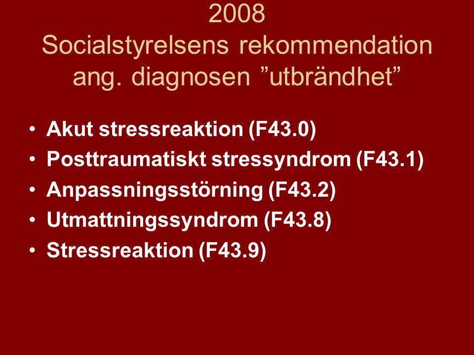 2008 Socialstyrelsens rekommendation ang. diagnosen utbrändhet