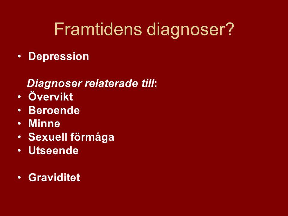 Framtidens diagnoser Depression Diagnoser relaterade till: Övervikt