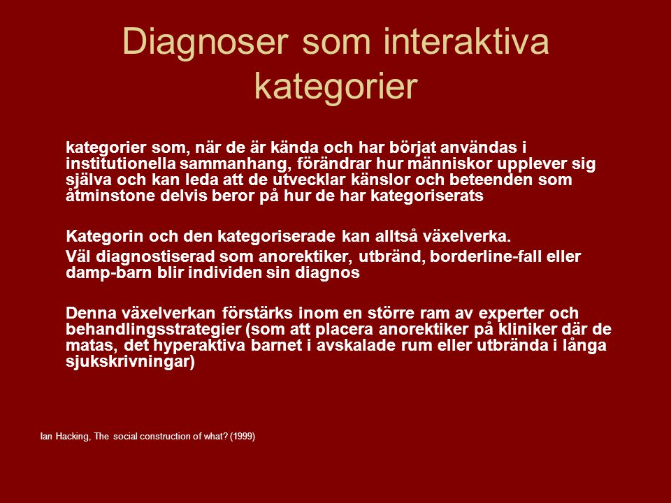 Diagnoser som interaktiva kategorier