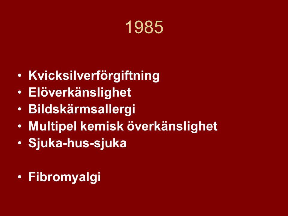 1985 Kvicksilverförgiftning Elöverkänslighet Bildskärmsallergi