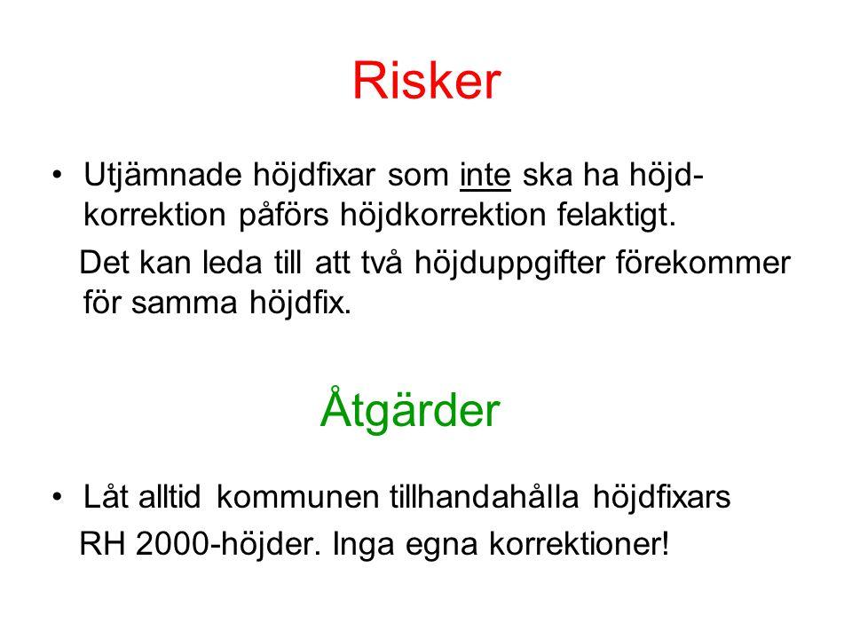 Risker Utjämnade höjdfixar som inte ska ha höjd-korrektion påförs höjdkorrektion felaktigt.