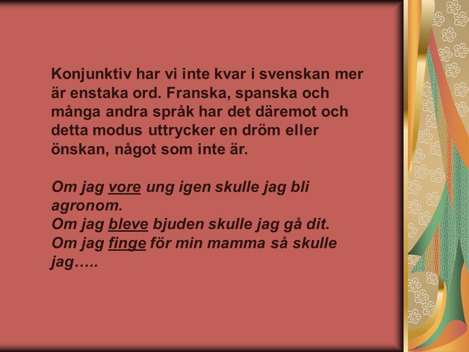 Konjunktiv har vi inte kvar i svenskan mer är enstaka ord