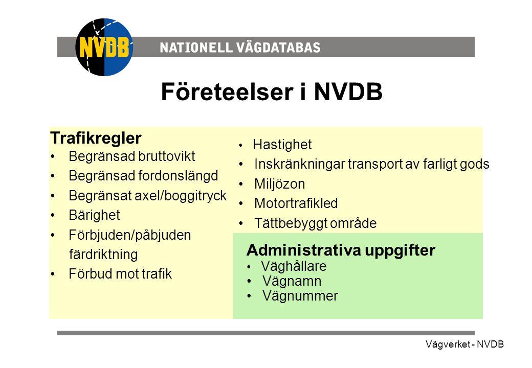 Företeelser i NVDB Trafikregler Administrativa uppgifter