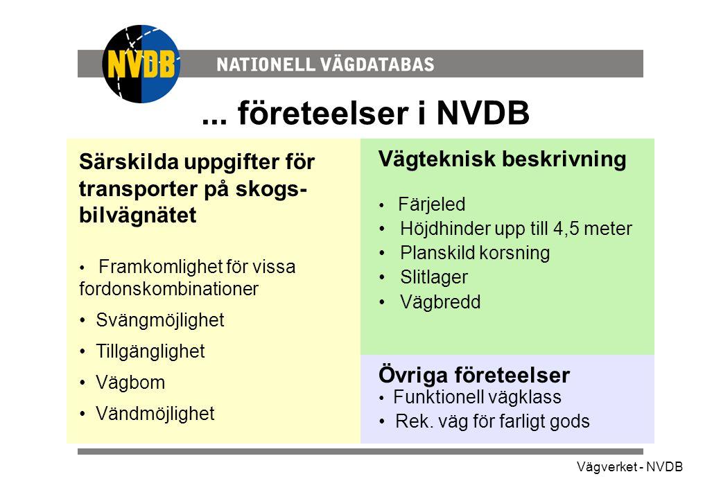 ... företeelser i NVDB Särskilda uppgifter för transporter på skogs-bilvägnätet.