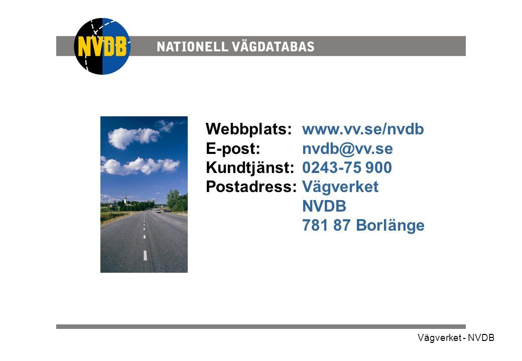 Webbplats: www.vv.se/nvdb