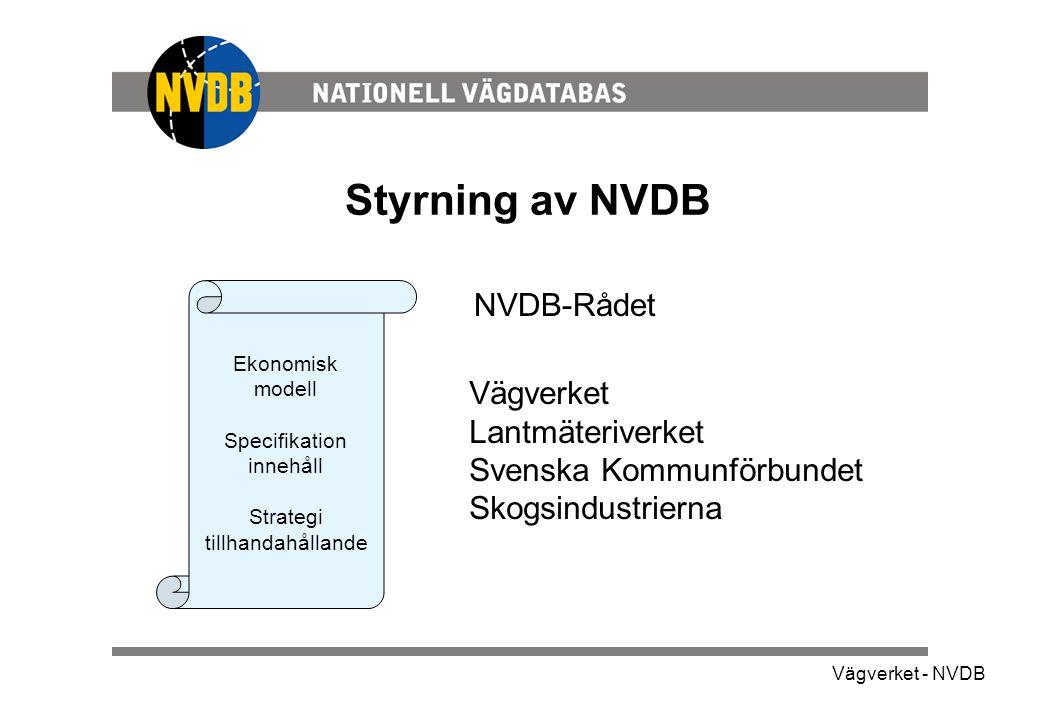 Styrning av NVDB NVDB-Rådet Vägverket Lantmäteriverket