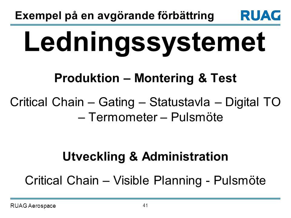 Produktion – Montering & Test Utveckling & Administration