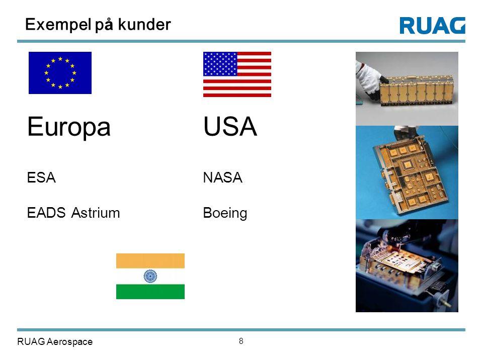 Exempel på kunder Europa USA ESA NASA EADS Astrium Boeing