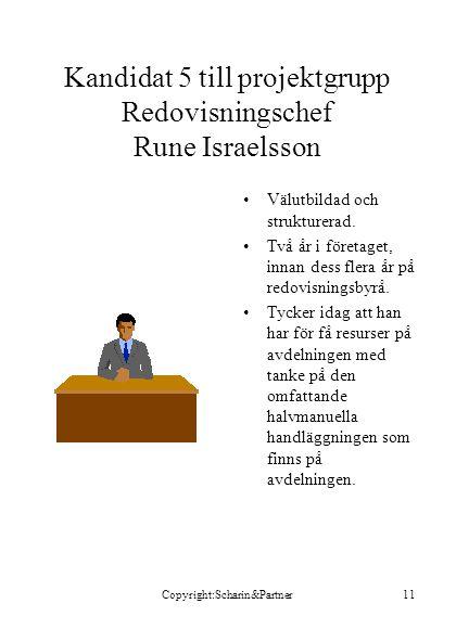 Kandidat 5 till projektgrupp Redovisningschef Rune Israelsson