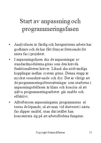 Start av anpassning och programmeringsfasen
