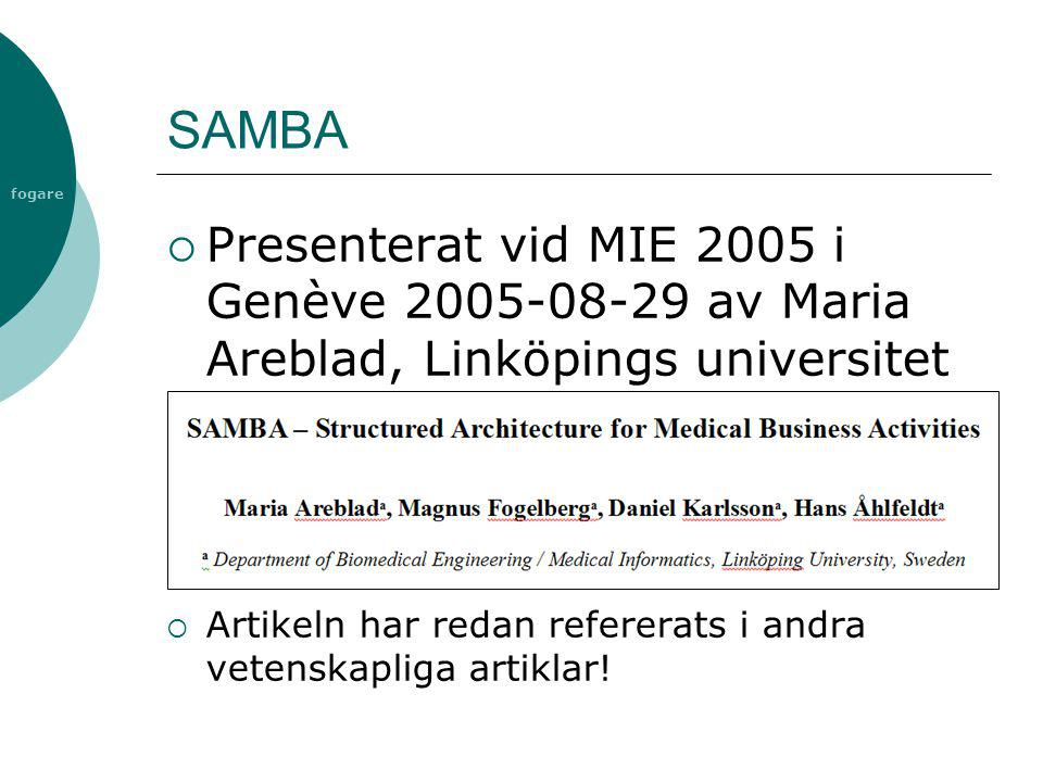 SAMBA Presenterat vid MIE 2005 i Genève 2005-08-29 av Maria Areblad, Linköpings universitet.