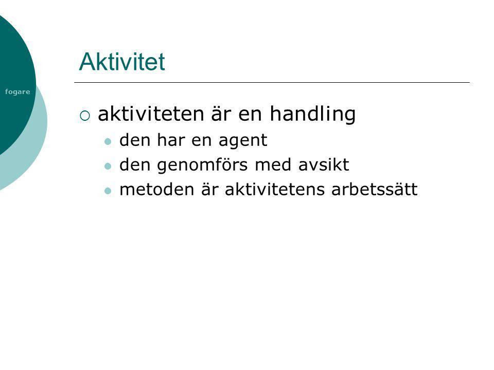 Aktivitet aktiviteten är en handling den har en agent
