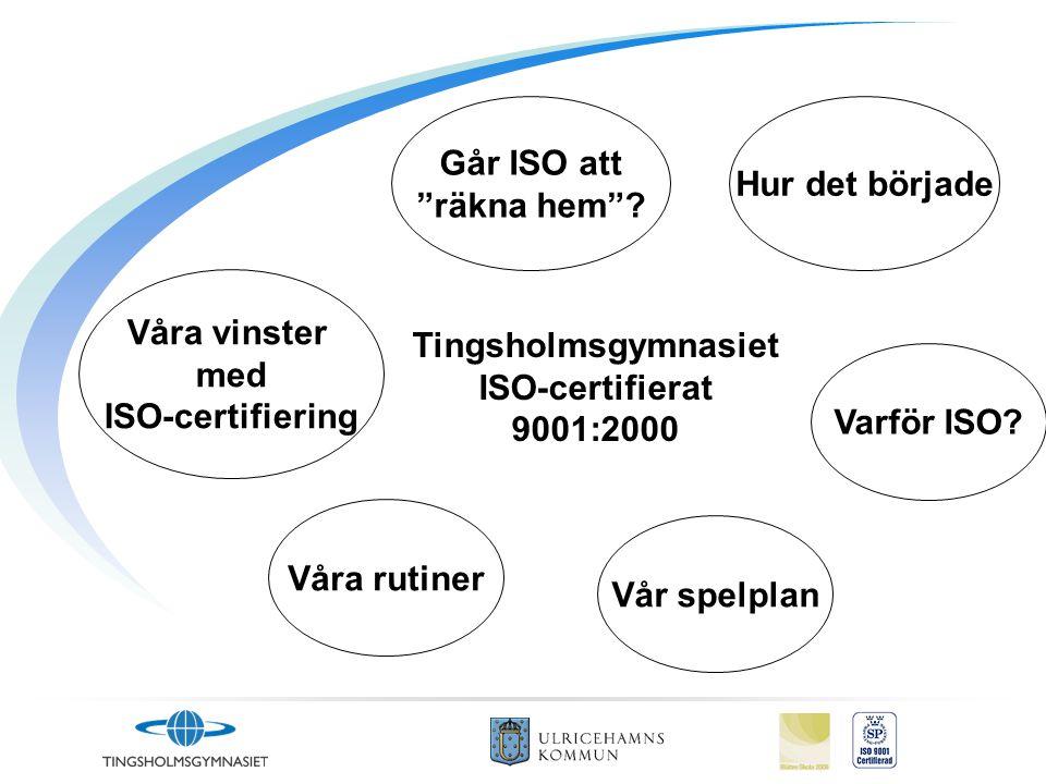Går ISO att räkna hem Hur det började. Våra vinster. med. ISO-certifiering. Tingsholmsgymnasiet.