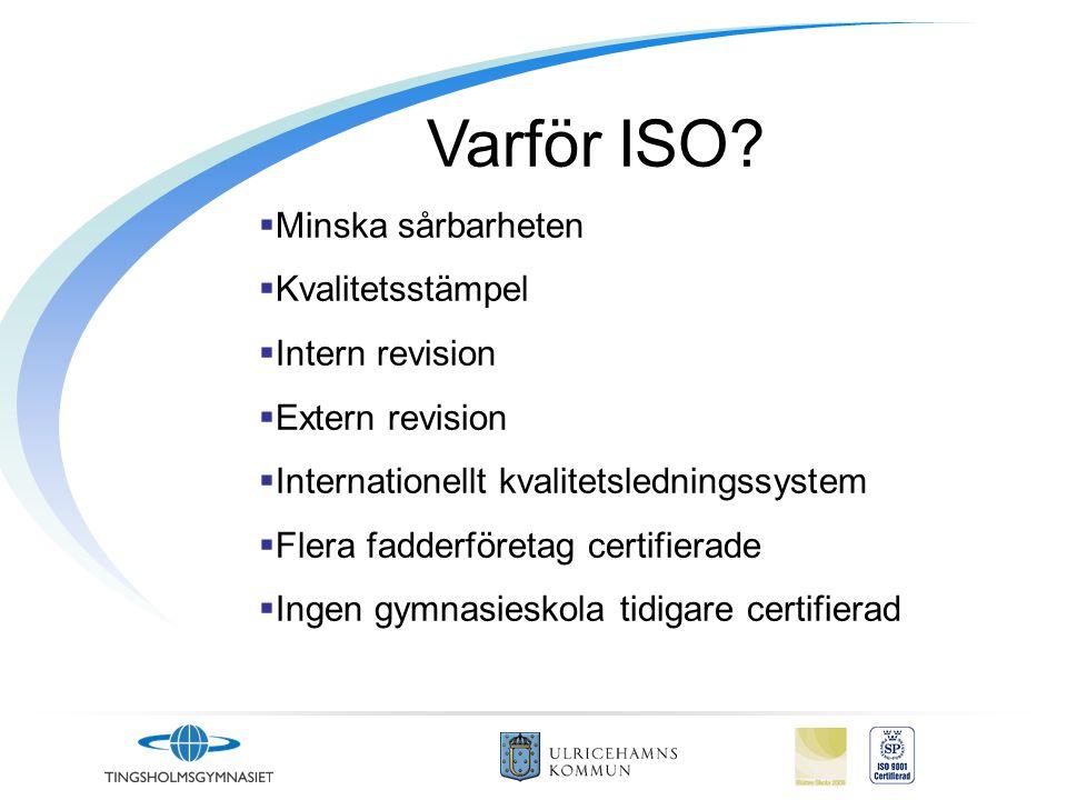 Varför ISO Minska sårbarheten Kvalitetsstämpel Intern revision
