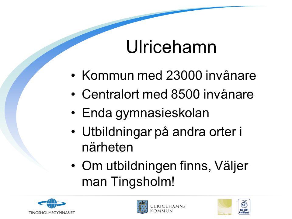 Ulricehamn Kommun med 23000 invånare Centralort med 8500 invånare