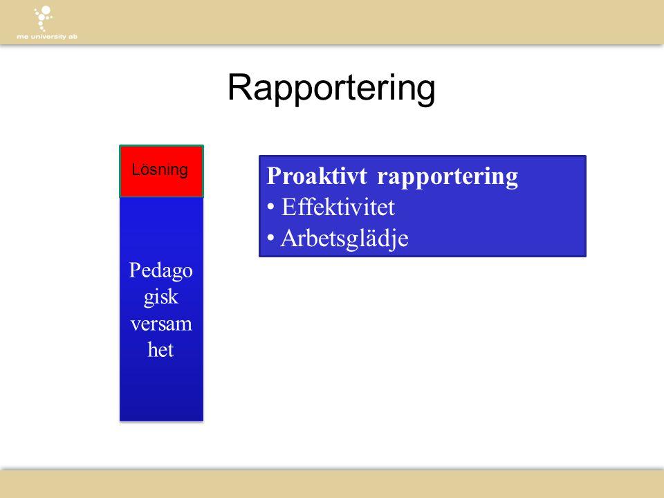 Rapportering Proaktivt rapportering Effektivitet Arbetsglädje