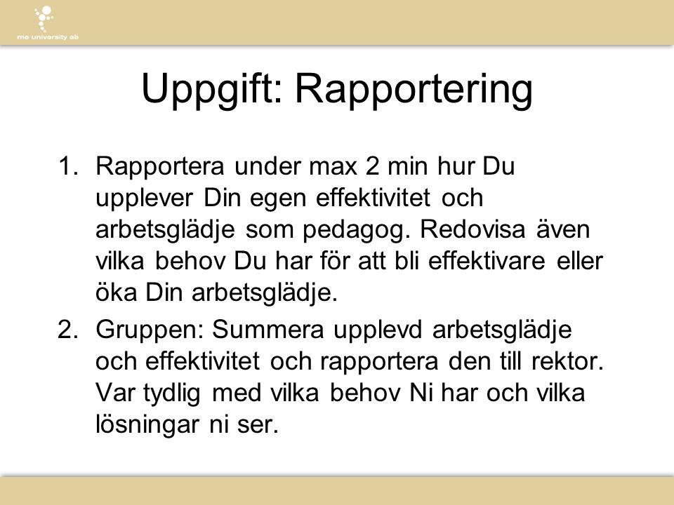 Uppgift: Rapportering