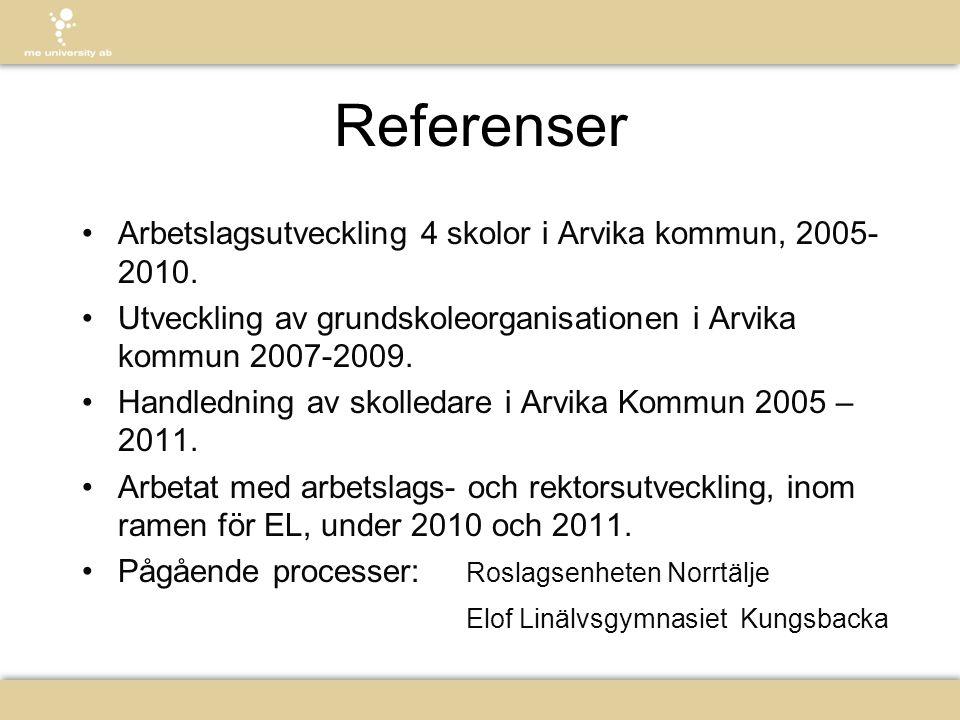 Referenser Arbetslagsutveckling 4 skolor i Arvika kommun, 2005-2010.