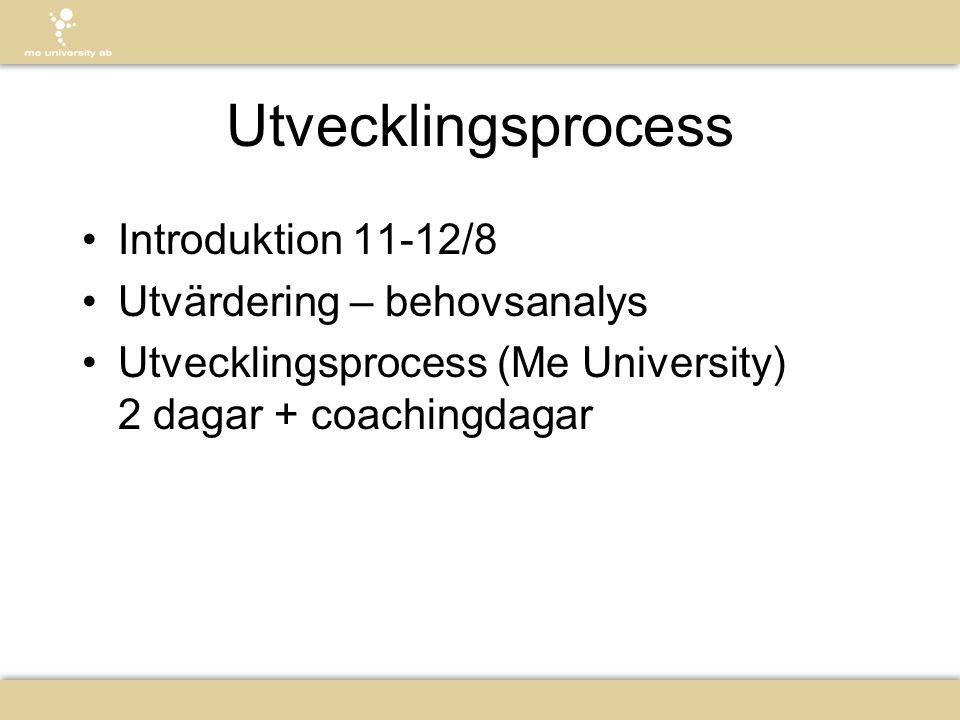 Utvecklingsprocess Introduktion 11-12/8 Utvärdering – behovsanalys