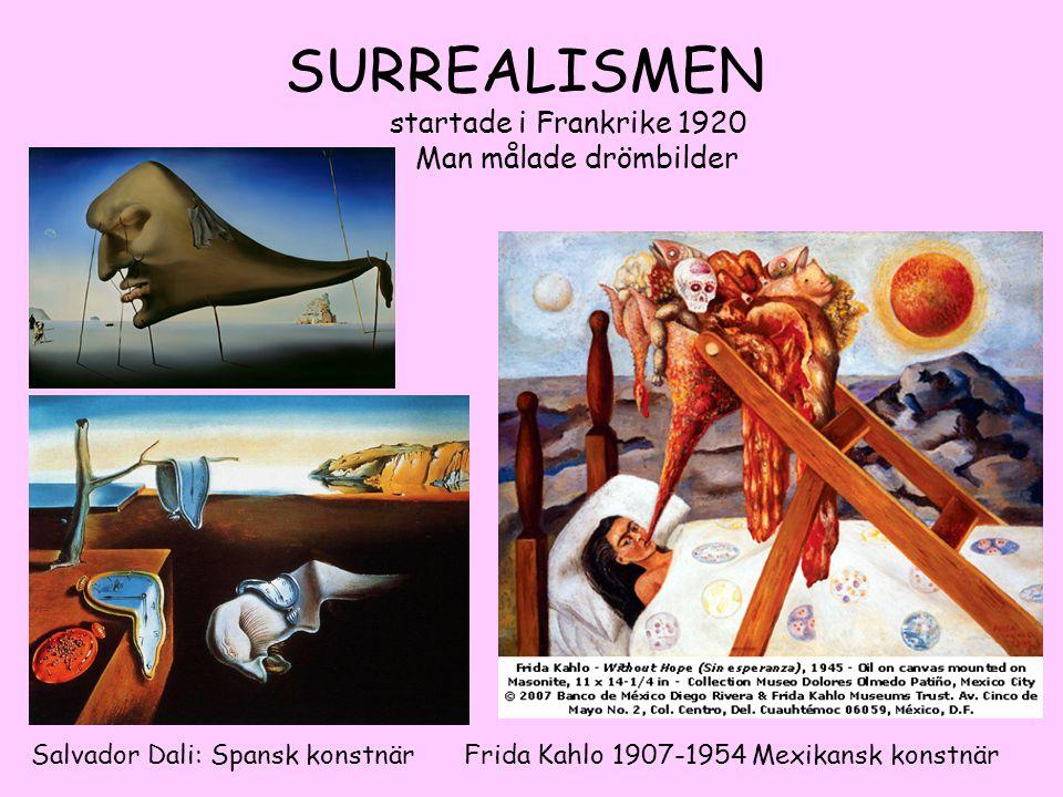 SURREALISMEN startade i Frankrike 1920 Man målade drömbilder