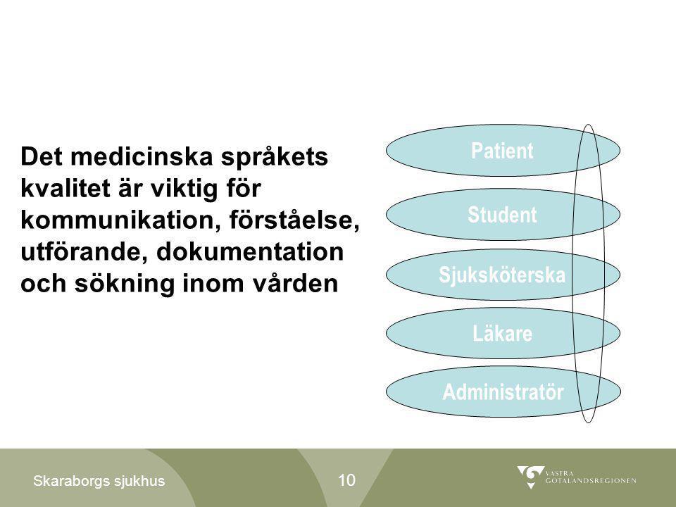 Patient Det medicinska språkets kvalitet är viktig för kommunikation, förståelse, utförande, dokumentation och sökning inom vården.