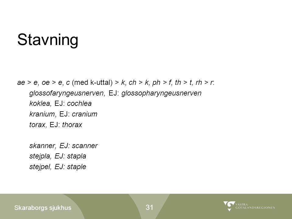 Stavning ae > e, oe > e, c (med k-uttal) > k, ch > k, ph > f, th > t, rh > r: glossofaryngeusnerven, EJ: glossopharyngeusnerven.