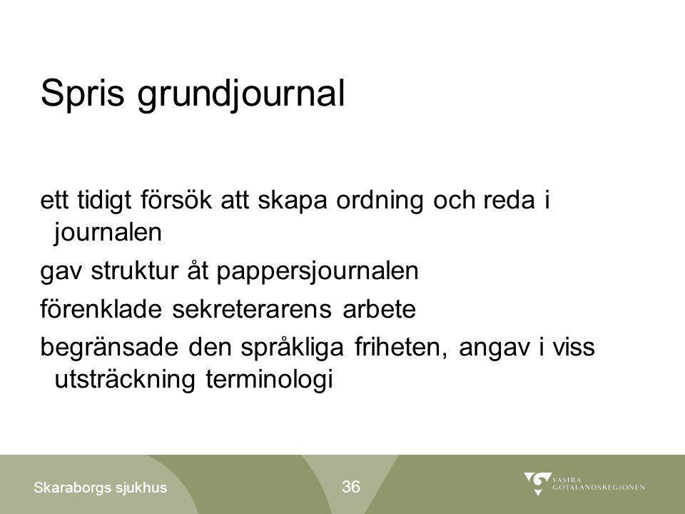 Spris grundjournal ett tidigt försök att skapa ordning och reda i journalen. gav struktur åt pappersjournalen.