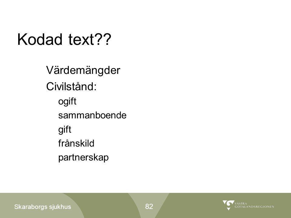 Kodad text Värdemängder Civilstånd: ogift sammanboende gift