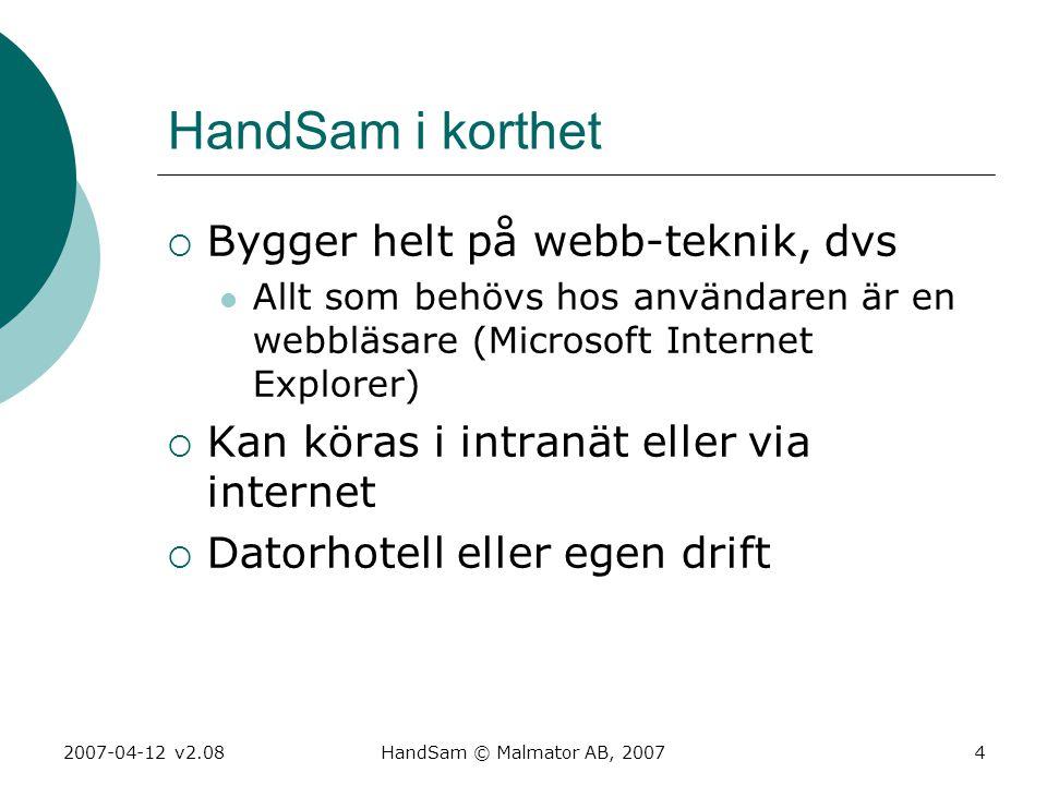 HandSam i korthet Bygger helt på webb-teknik, dvs