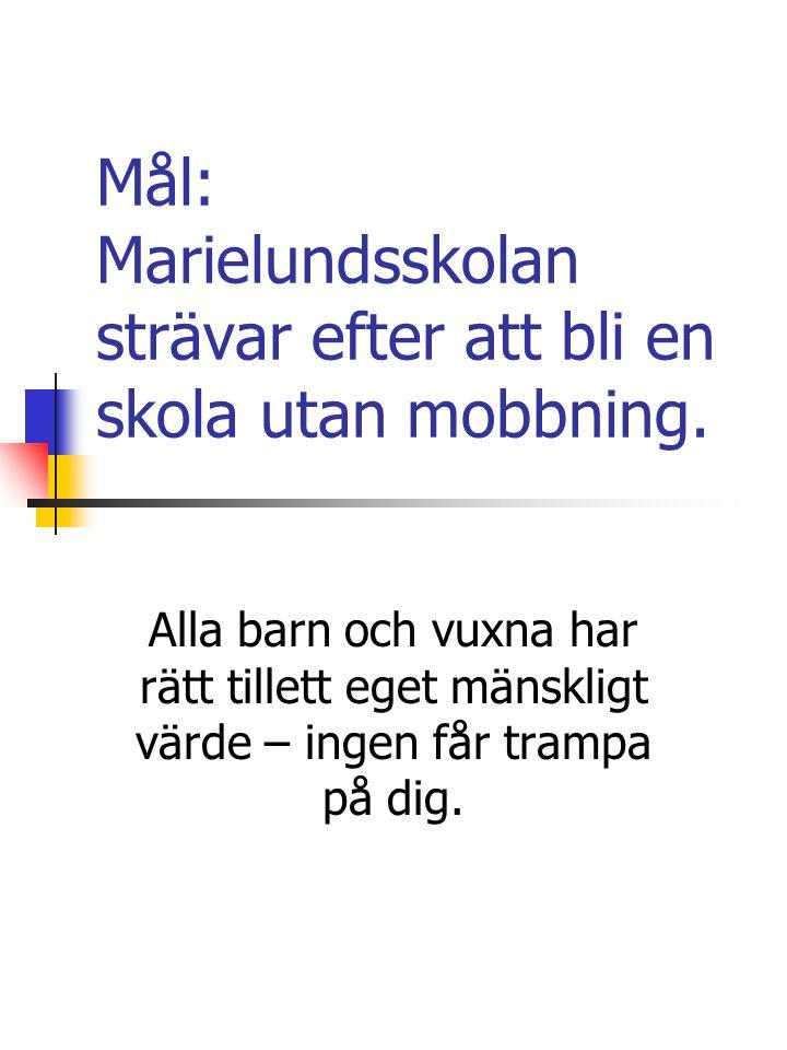 Mål: Marielundsskolan strävar efter att bli en skola utan mobbning.