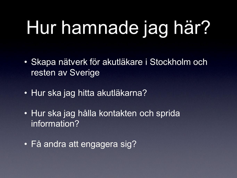 Hur hamnade jag här Skapa nätverk för akutläkare i Stockholm och resten av Sverige. Hur ska jag hitta akutläkarna