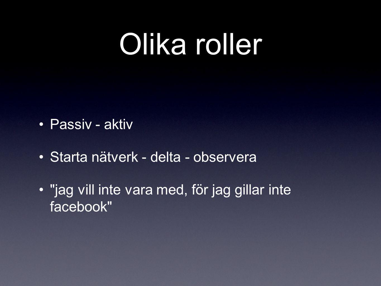 Olika roller Passiv - aktiv Starta nätverk - delta - observera