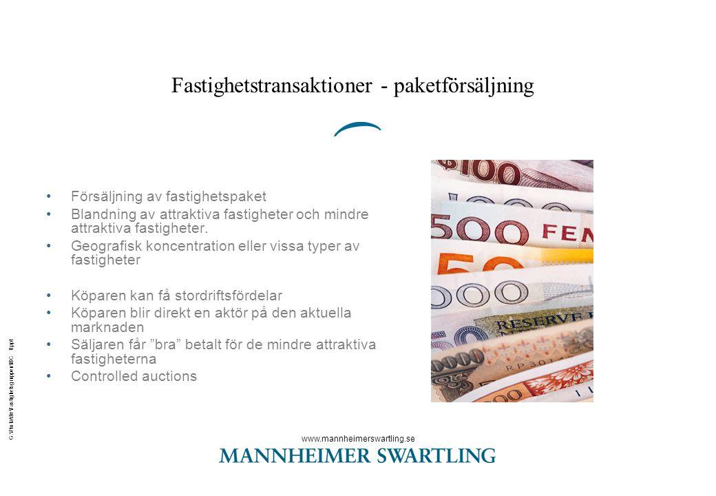 Fastighetstransaktioner - paketförsäljning